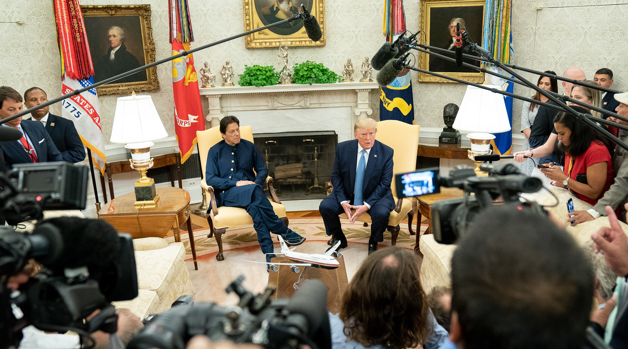 President Donald Trump meets with Prime Minister Imran Khan in the Oval Office on July 22, 2019. Photo credit: Official White House Photo by Shealah Craighead/Public Domain via Flickr