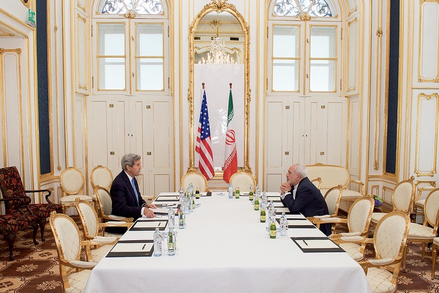 Secretary Kerry Meets With Iranian Foreign Minister Zarif One-on-One in the Palais Coburg Blue Salon, July 1, 2015