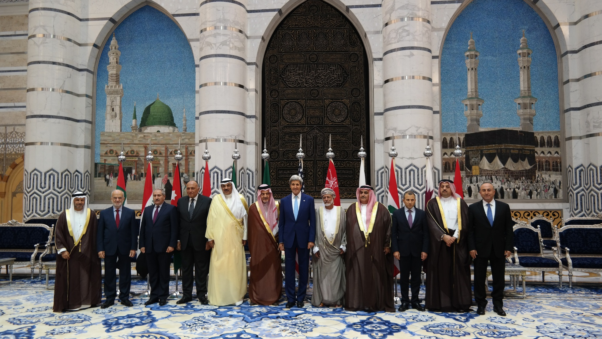 U.S. Secretary of State John Kerry poses for a photo with Gulf Cooperation Council (GCC) and Regional Partners meeting participants in Jeddah, Saudi Arabia on September 11, 2014.