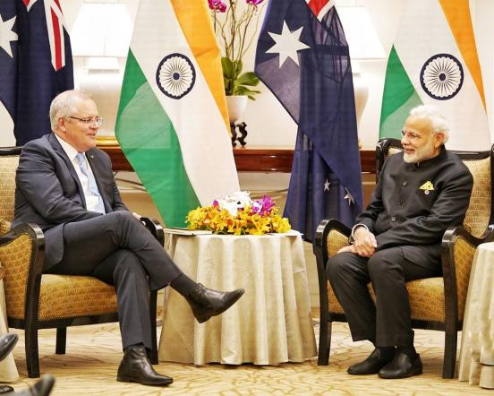 Indian Prime Minister Modi meets Scott Morrison, Prime Minister of Australia in Singapore. (MEAphotogallery, https://tinyurl.com/27m9u7w8; CC BY-NC-ND 2.0, https://creativecommons.org/licenses/by-nc-nd/2.0/)
