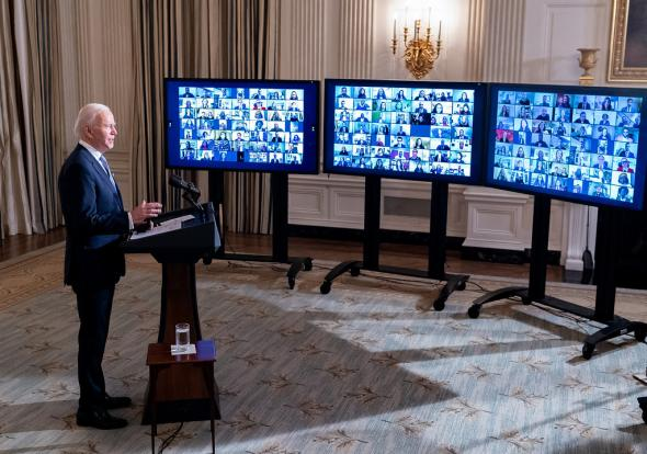 President Biden participates in a virtual swearing-in ceremony of top aides and appointees, Jan. 20, 2021. (Official White House Photo by Adam Schultz/https://flic.kr/p/2kyXG4q/Public Domain)