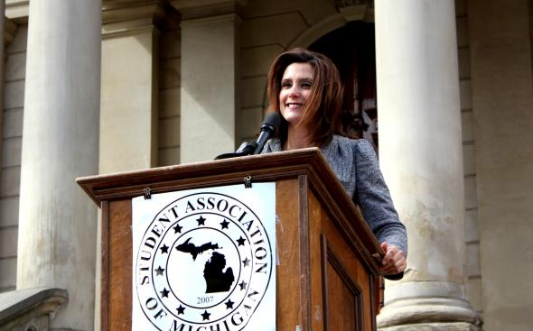 Then-State Senator Gretchen Whitmer, now the governor of Michigan, standing at a podium in 2011. (Flickr/austin_slack, https://flic.kr/p/9t3q6V; CC BY-SA 2.0, https://creativecommons.org/licenses/by-sa/2.0/)