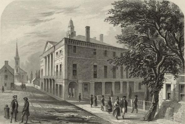 Steel engraving of Federal Hall in New York, the site of the first two sessions of Congress. By Robert Hinshelwood, from Washington Irving's Life of George Washington, 5 vol. (1855-59).