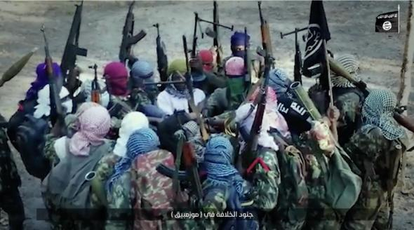 Militants in Mozambique pledge allegiance to the Islamic State in a video issued by the group on July 24, 2019. Photo credit: Tore Hamming taken from Islamic State media.